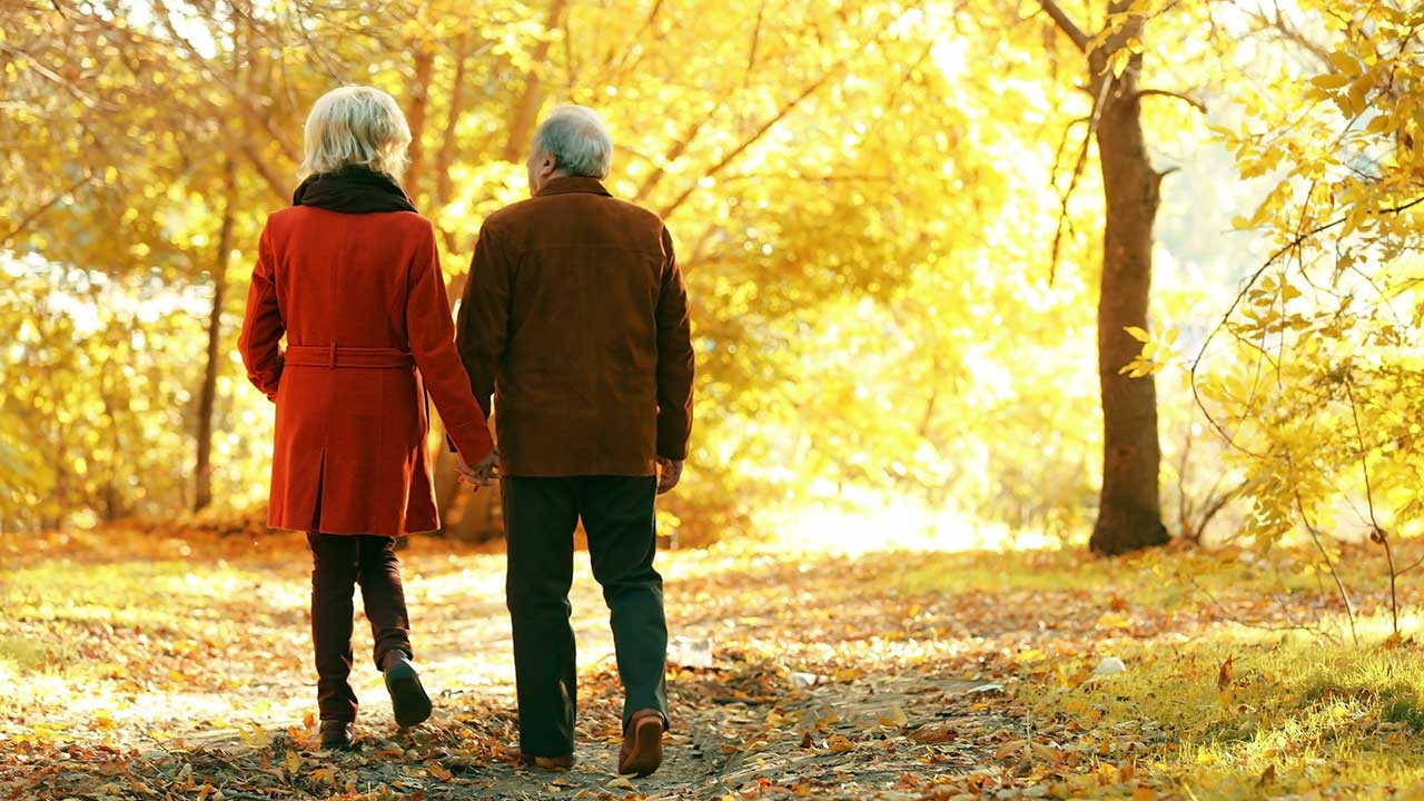 Seniorenpaar spaziert im goldenen Herbst | (c) 123rf