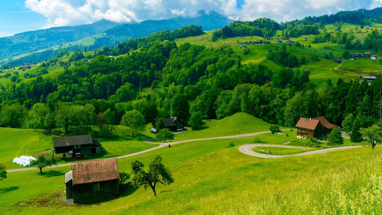 Bauernhäuser in Grabs im Kanton St. Gallen