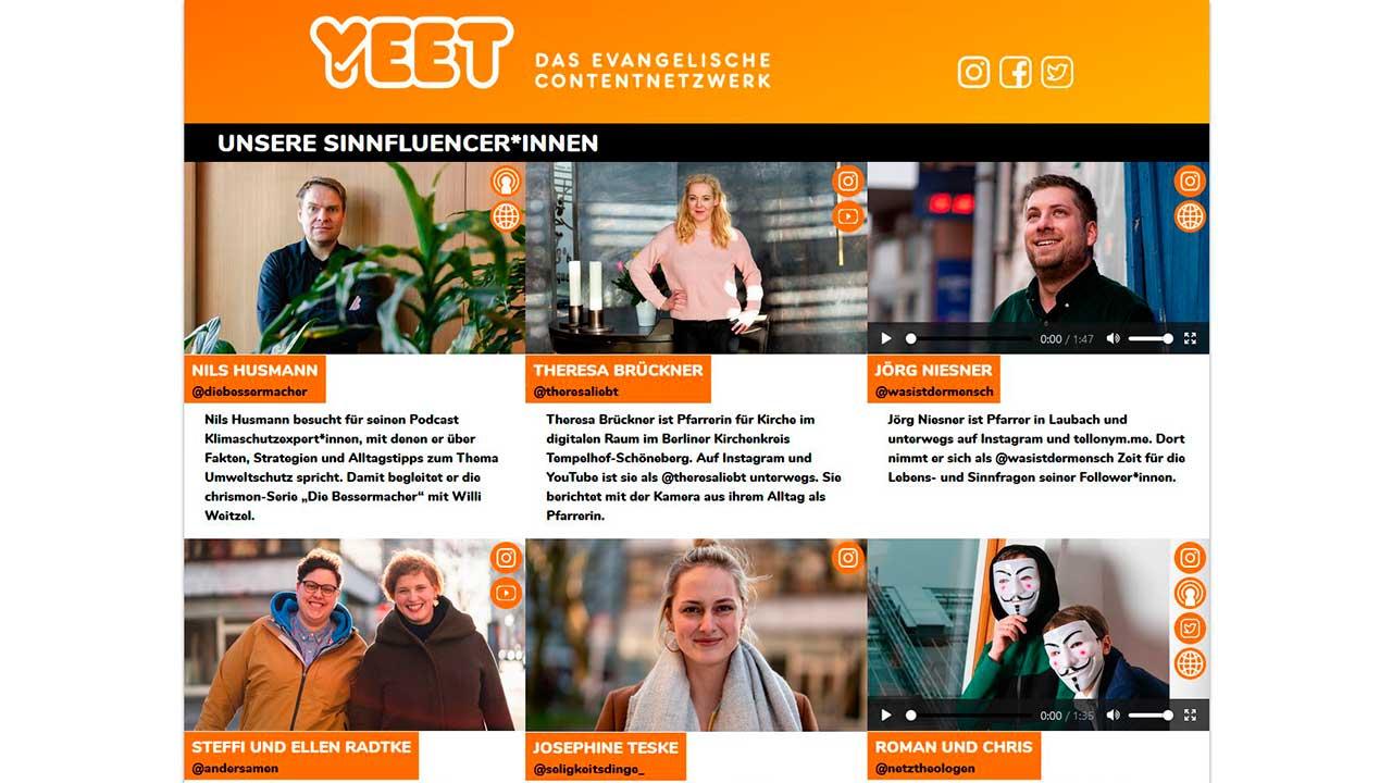 Screenshot der Website «Yeet»