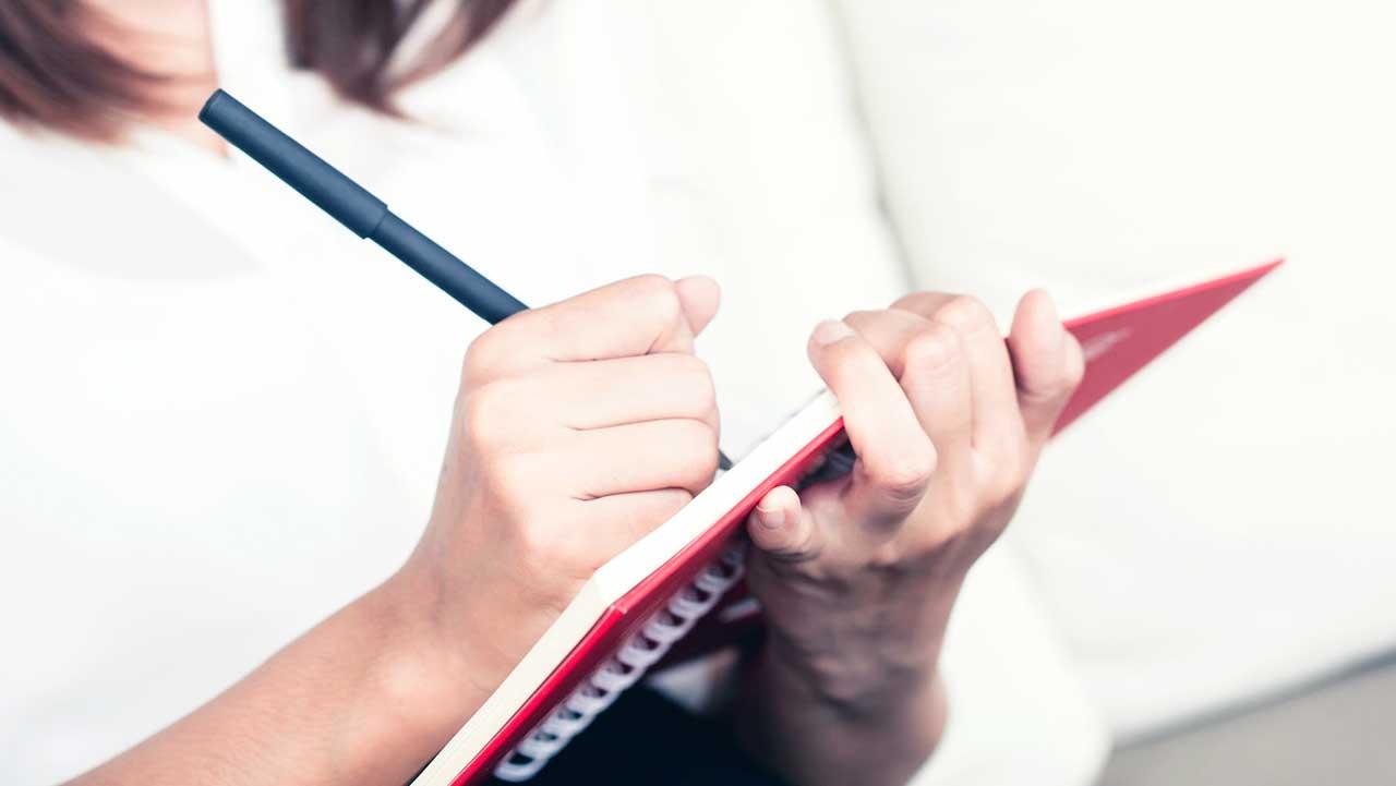 Junge Frau schreibt in ein Notizbuch