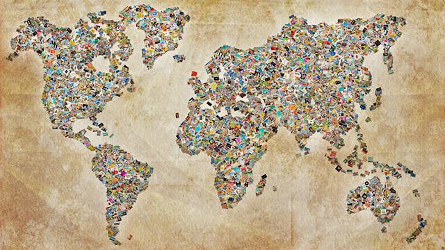 Collage einer Weltkarte